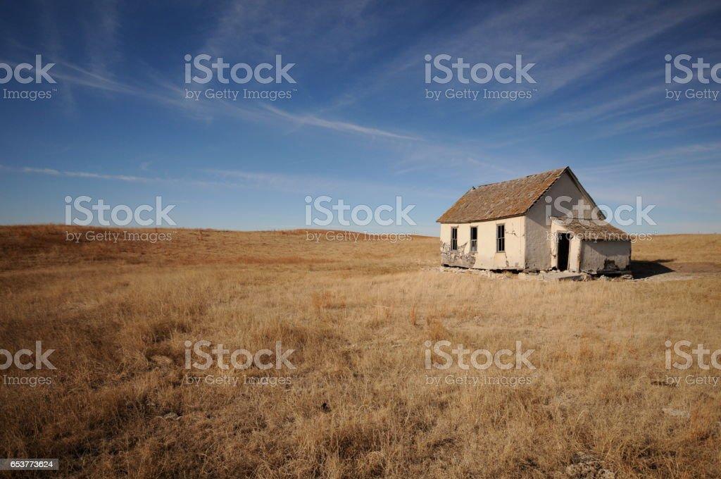 Abandoned house in Nebraska stock photo