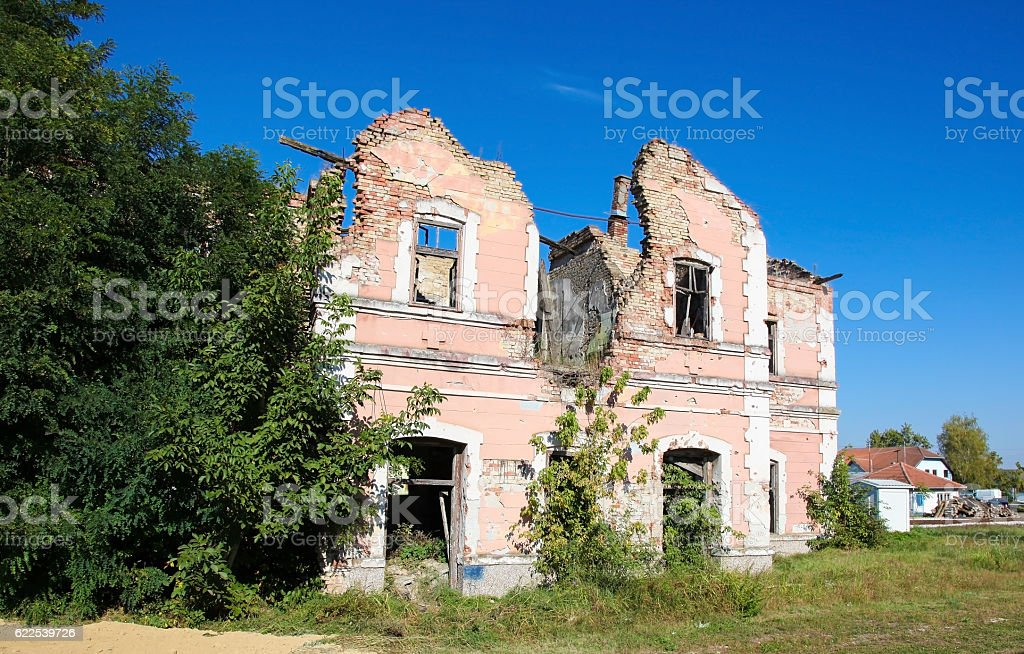 Abandoned house in Slavonia, Croatia. stock photo