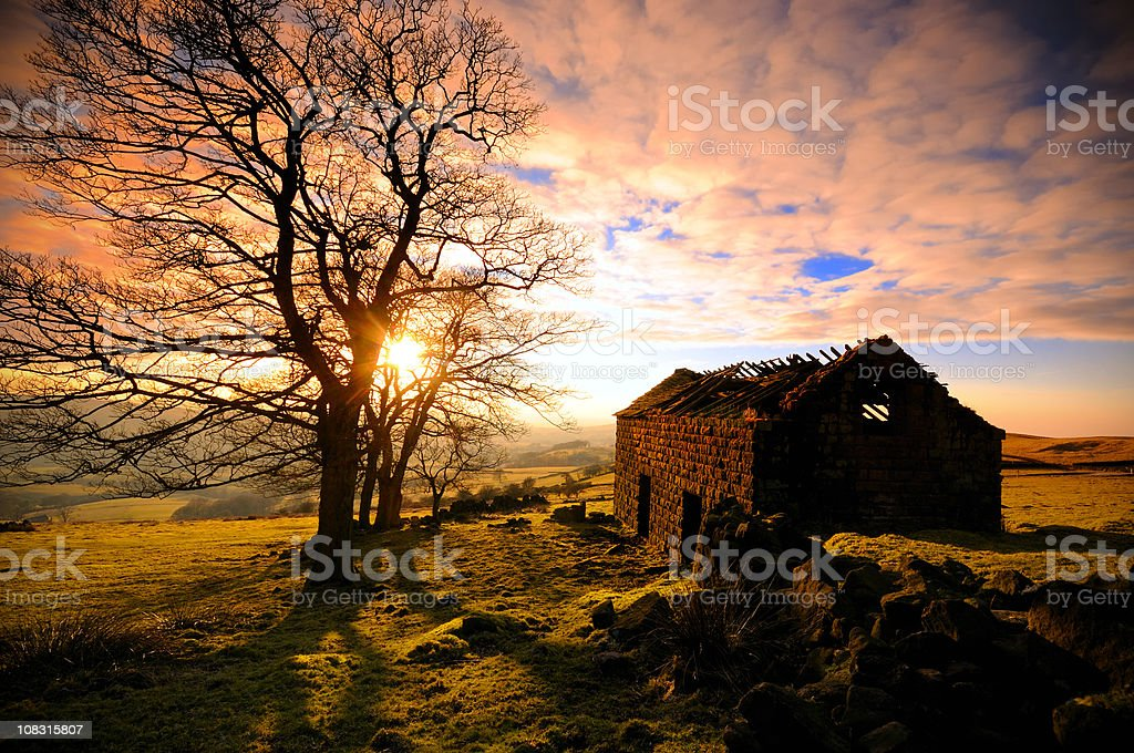 Abandoned House in The Peak District stock photo