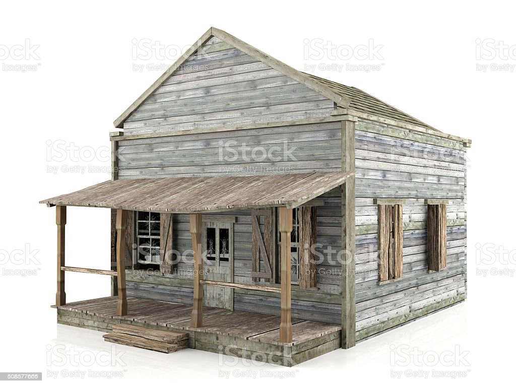 Abandoned house isolated, side view stock photo