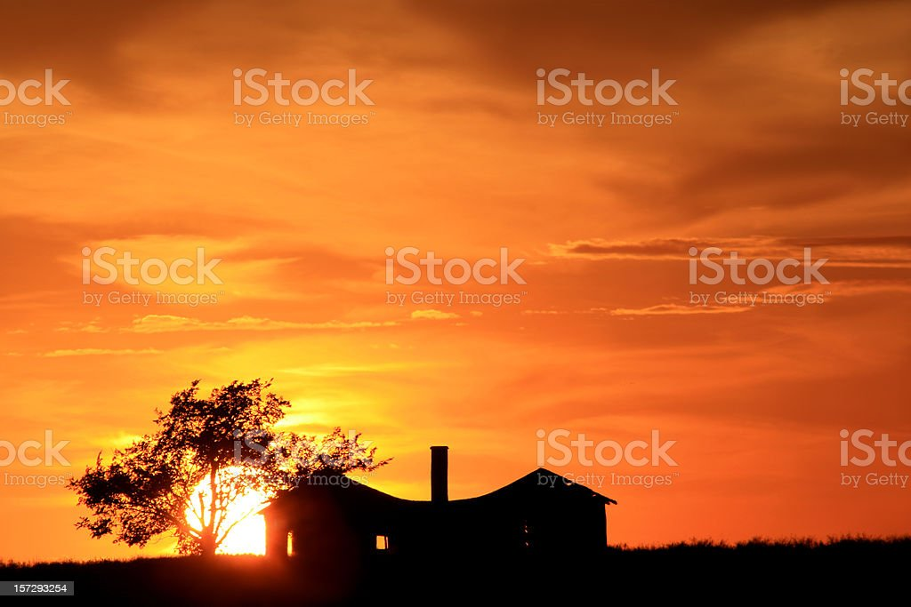 Abandoned House on the Prairie stock photo