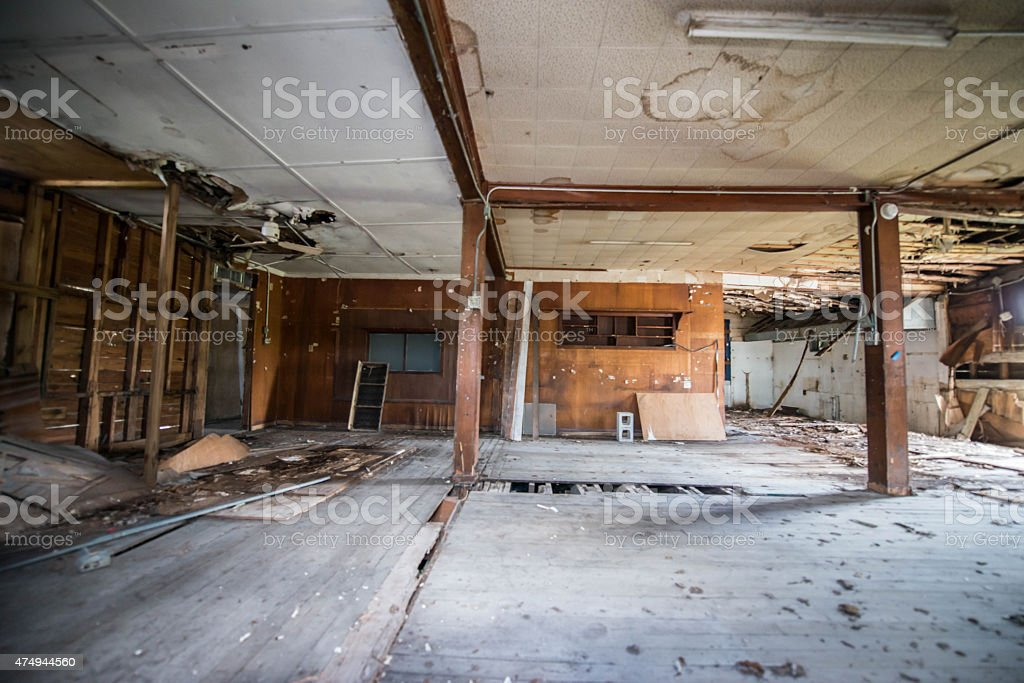Abandoned House with Burned or Flooded Room stock photo