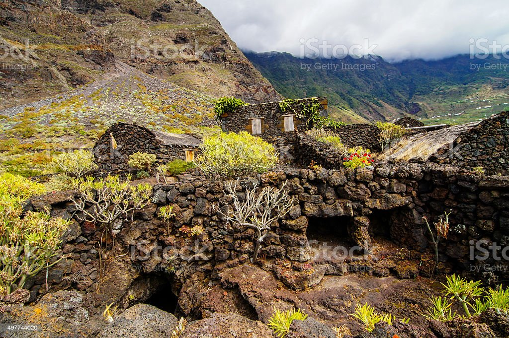 Abandoned Houses In El Hierro Island stock photo