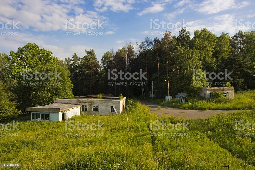 Abandoned Houses in old children camp stock photo