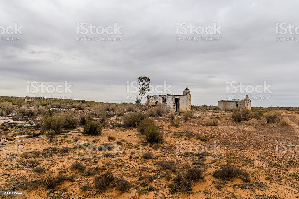 abandoned houses in the Karoo stock photo