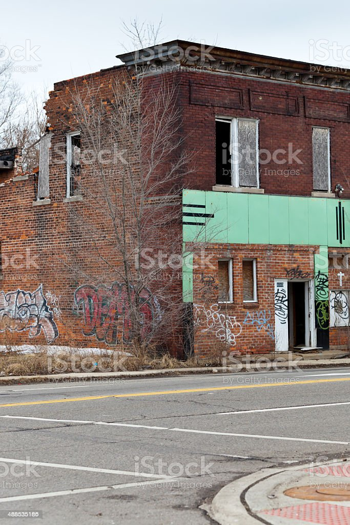 Abandoned houses stock photo