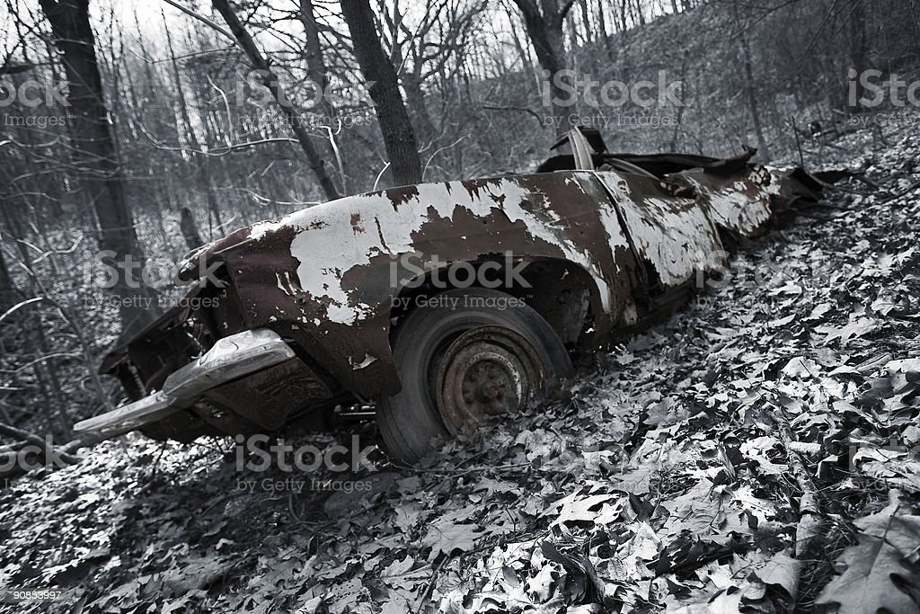Abandoned in the forest stock photo