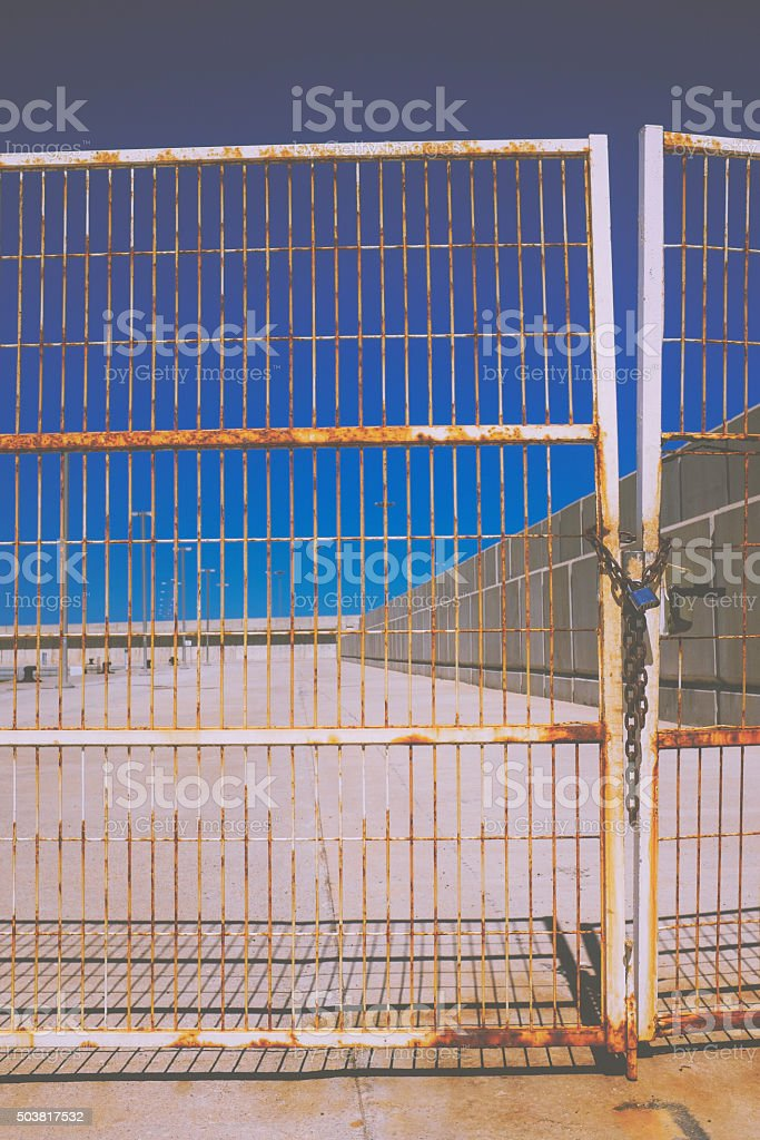 abandoned industrial area. stock photo