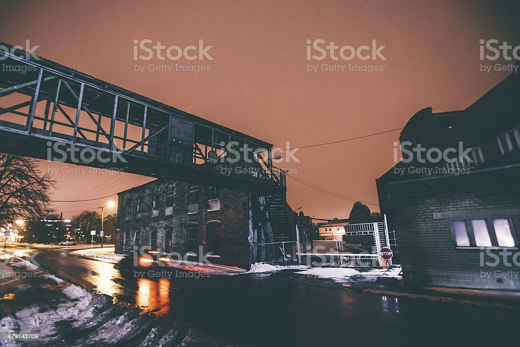 Abandoned industrial buildings. stock photo