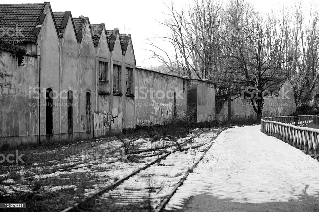 Abandoned Industrial Factory, Black and White Image stock photo