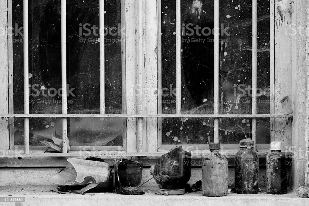 Abandoned Industrial Factory Facade, Black and White Image stock photo