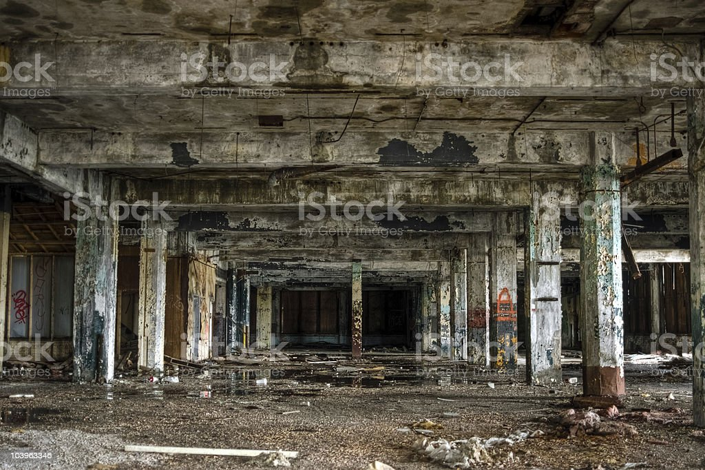 Abandoned Industrial Factory Warehouse Interior royalty-free stock photo
