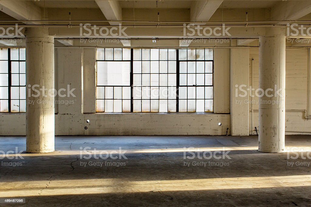 Abandoned Industrial Factory Warehouse Interior stock photo