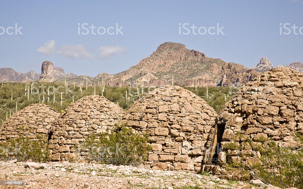 Abandoned Industrial Ovens in Arizona's Desert royalty-free stock photo