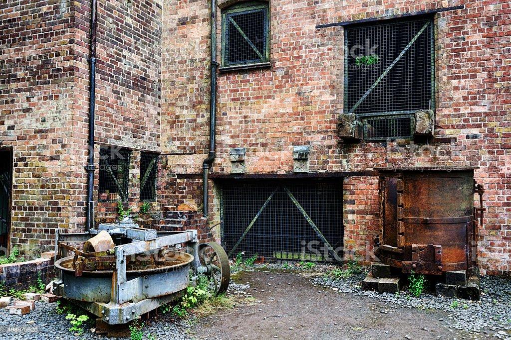 Abandoned industrial revolution factory machinary, Shropshire, E stock photo