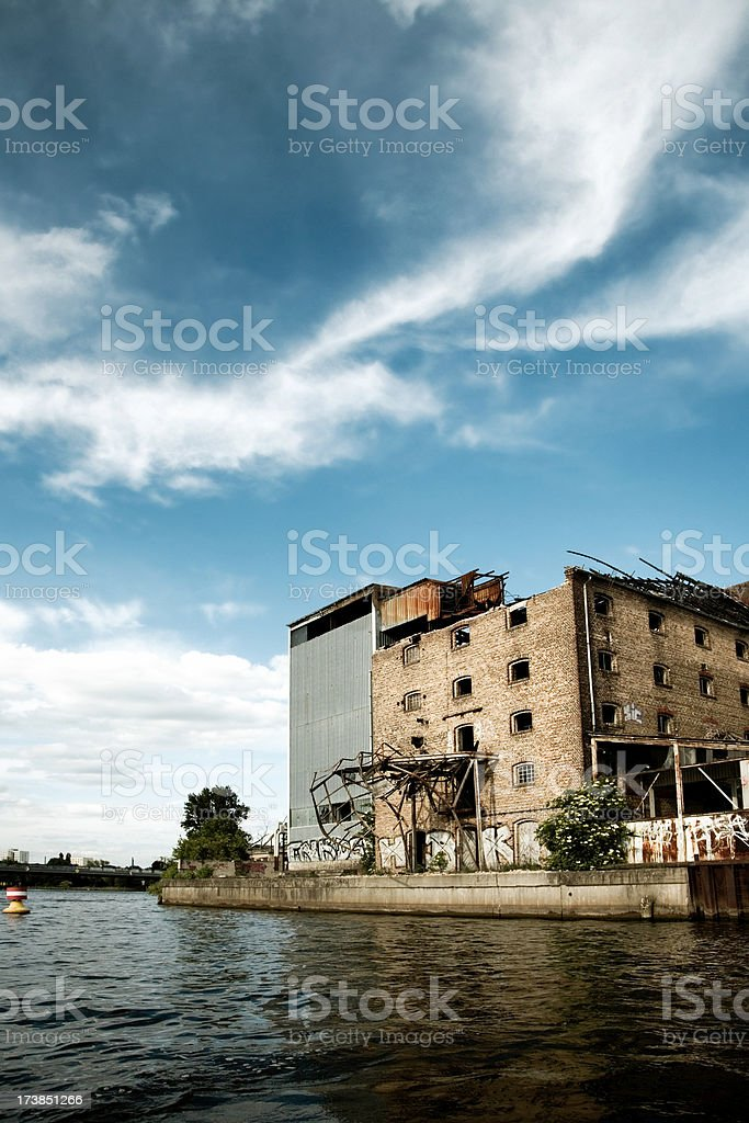 abandoned industry buildings stock photo