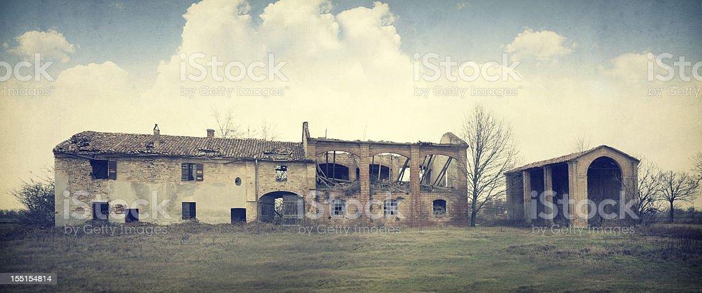 Abandoned Italian Farm. Vintage style stock photo