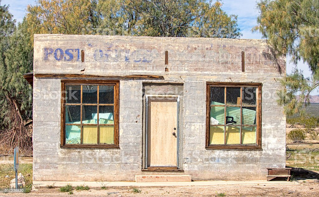 Abandoned Kelso Post Office in Mojave National Preserve stock photo