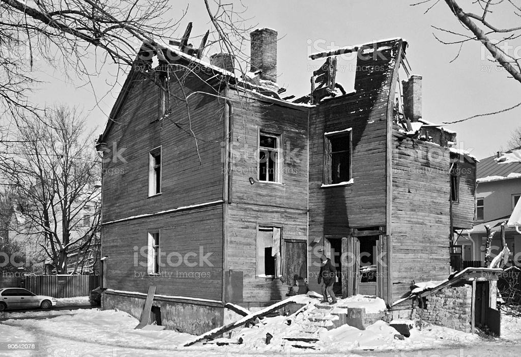 Salon Maison abandonnée photo libre de droits