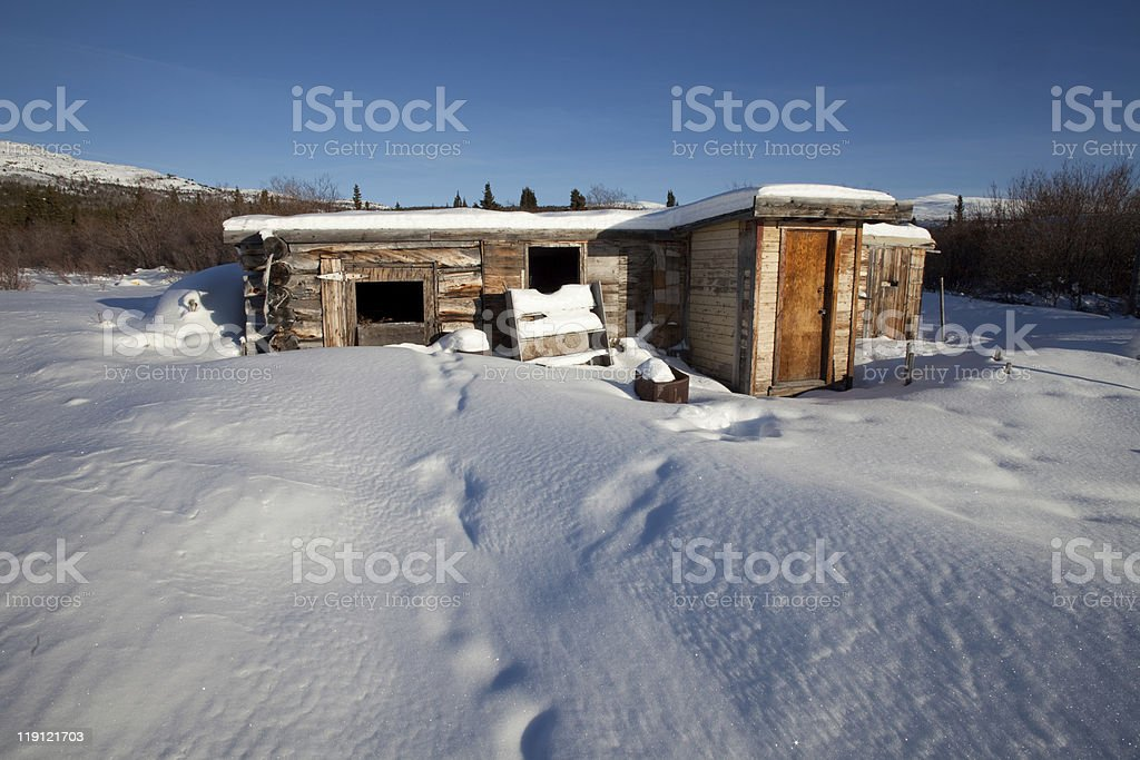 Abandoned log cabin in winter royalty-free stock photo
