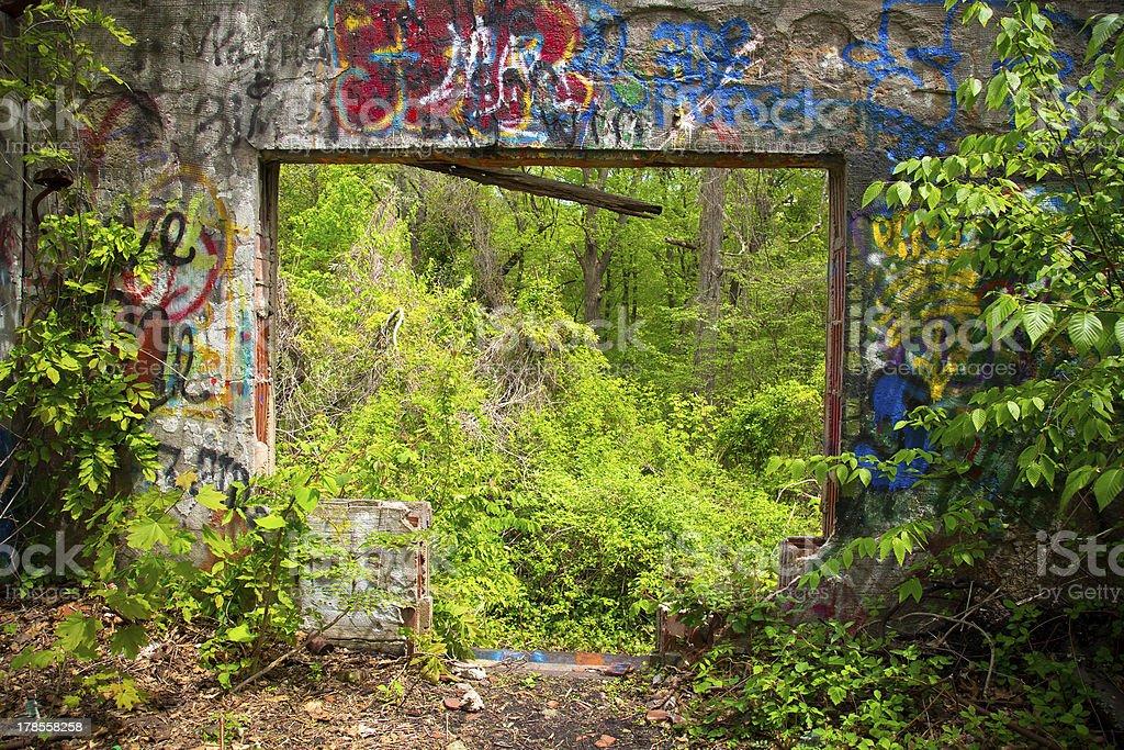 Abandoned Long Island Mansion stock photo