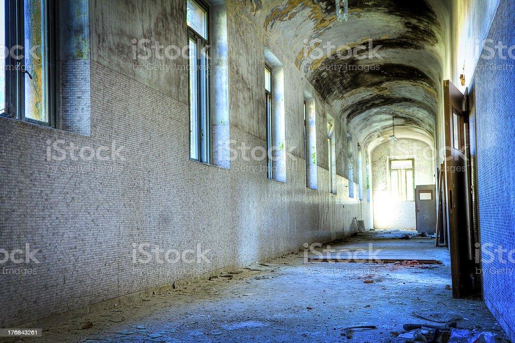 Abandoned madhouse corridor HDR stock photo