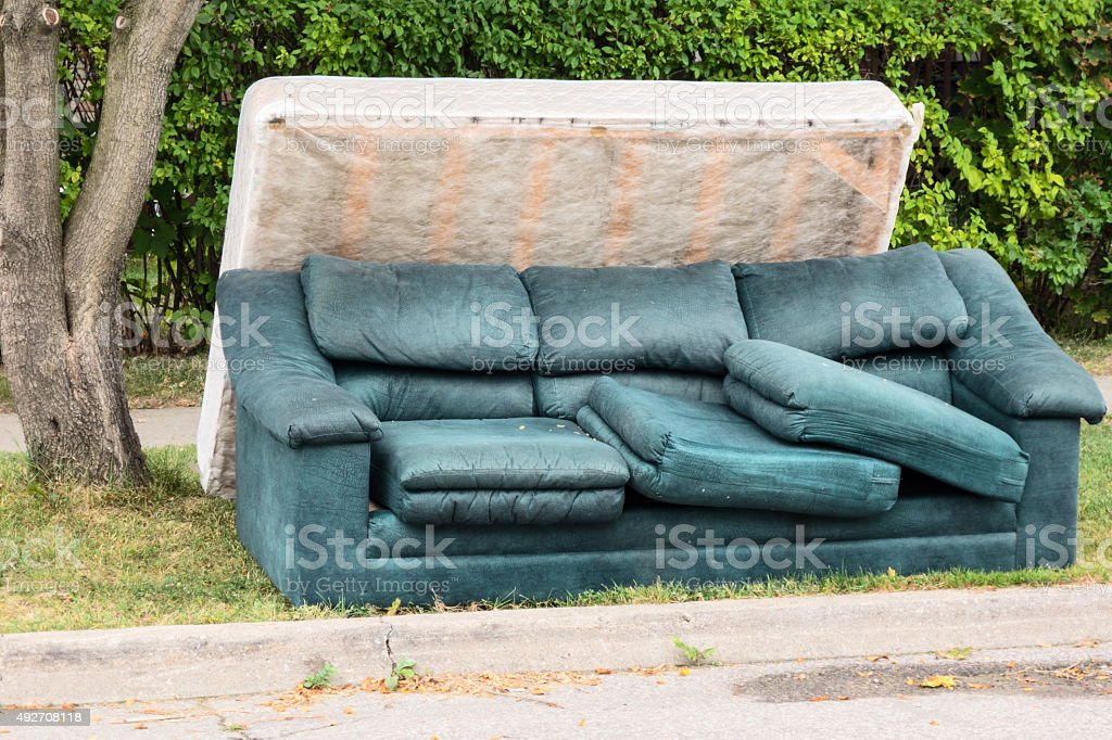 Abandoned Mattress and Couch stock photo