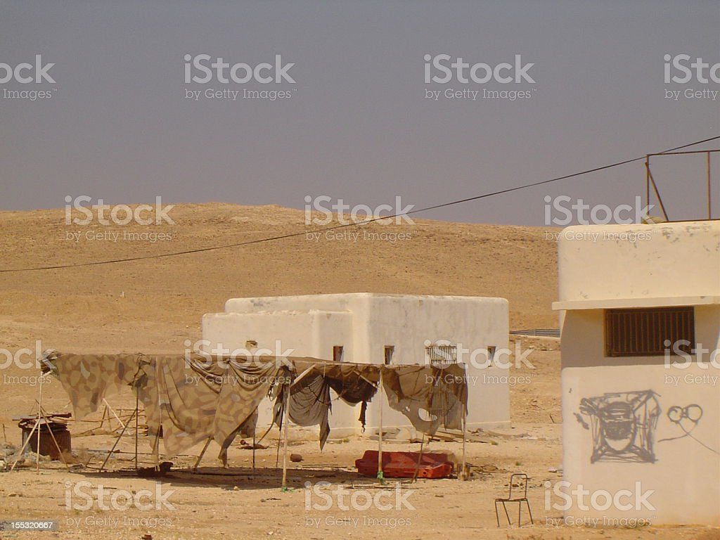 Abandoned Military Buildings near Jericho in Palestine stock photo