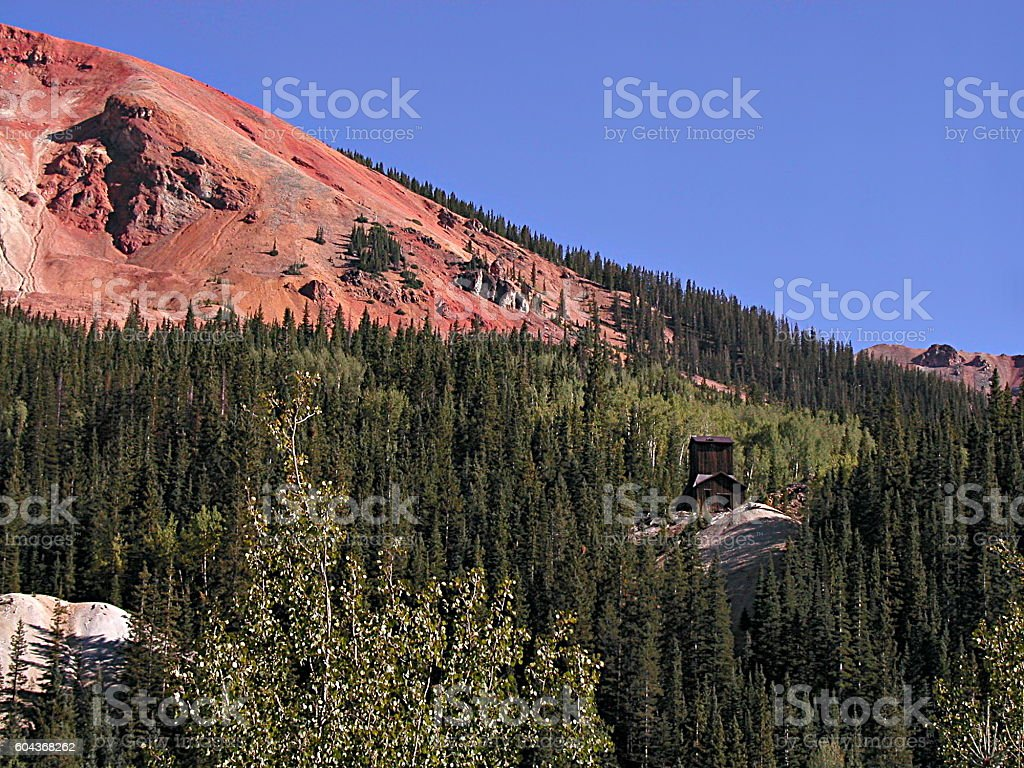 Abandoned Mine at Red Mountain Pass Summit stock photo