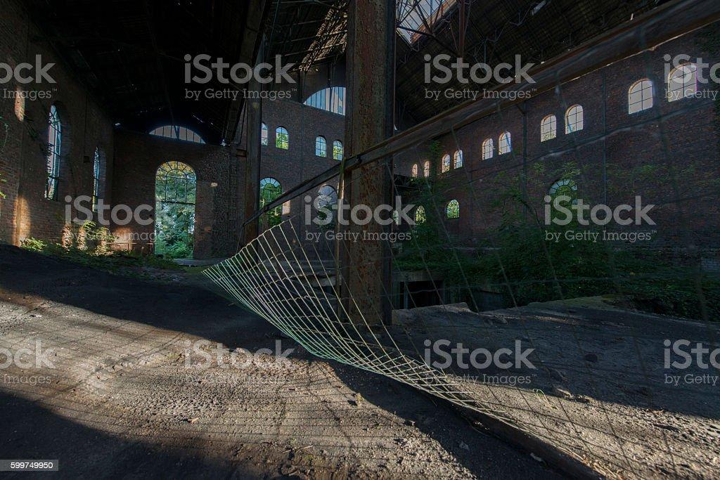 Abandoned mine buildings in Belgium stock photo