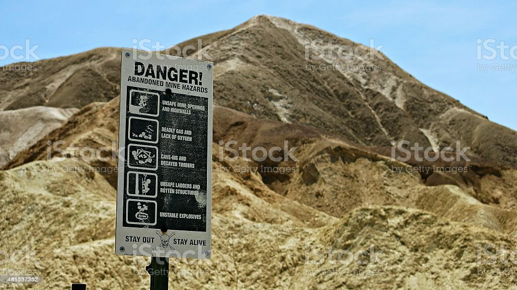Abandoned Mine Deadly Hazards Sign, Death Valley National Park stock photo