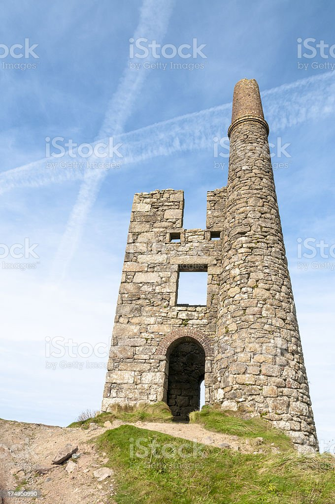 Abandoned Mine Shaft Building In Cornwall England royalty-free stock photo