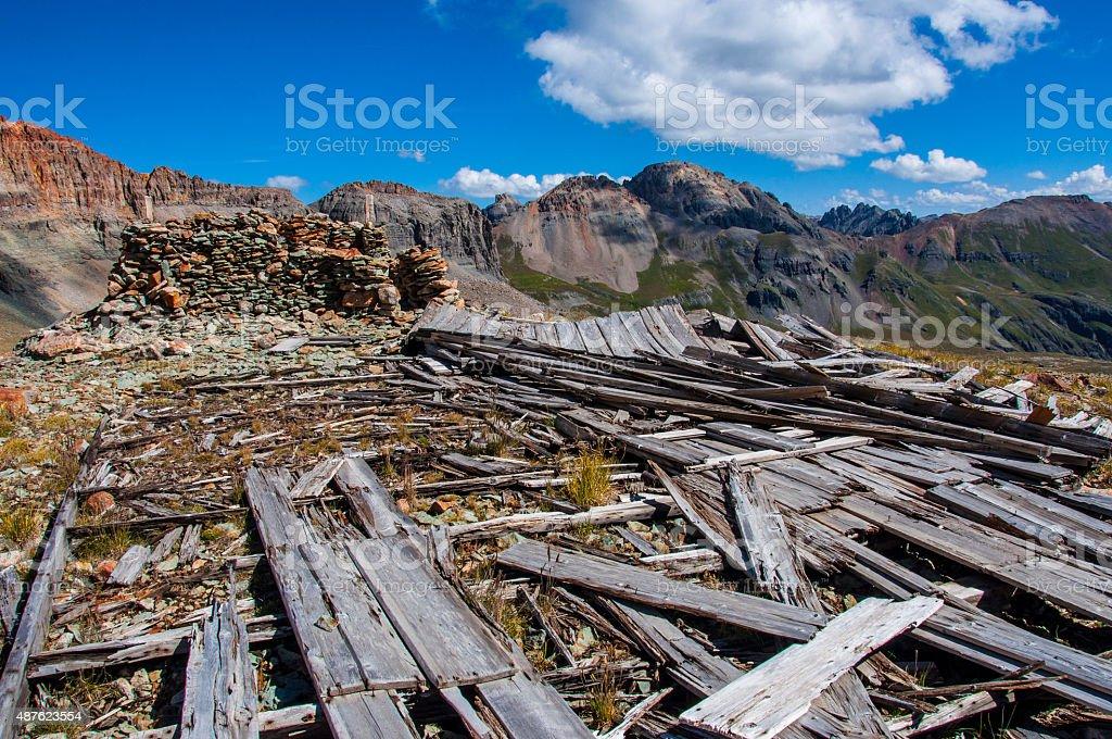 Abandoned Mine Supplies High in Rocky Mountains Silverton Colorado stock photo