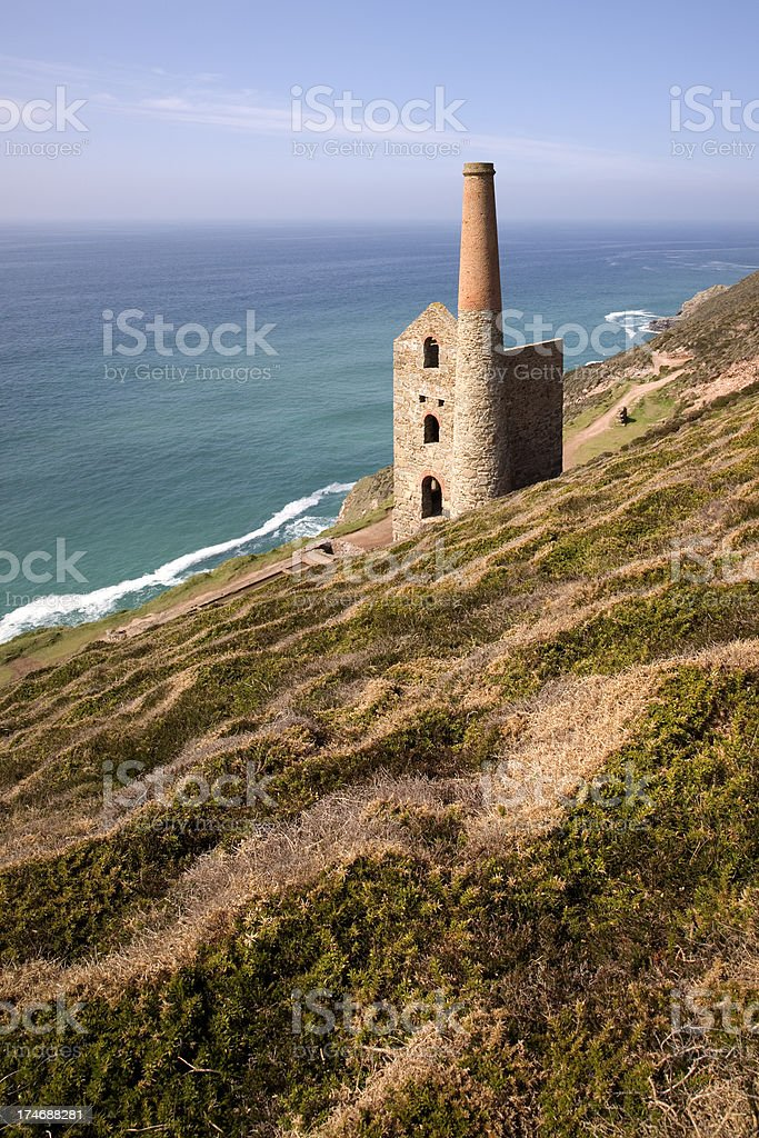 Abandoned Mine Workings on North Cornwall Coast, England stock photo