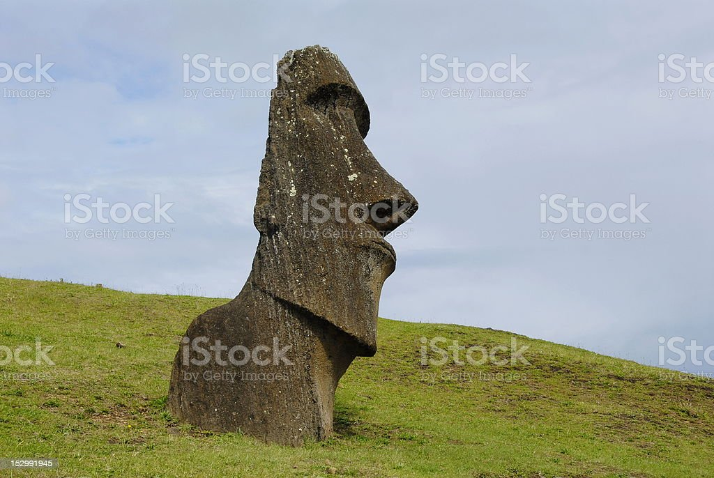 Abandoned moai royalty-free stock photo
