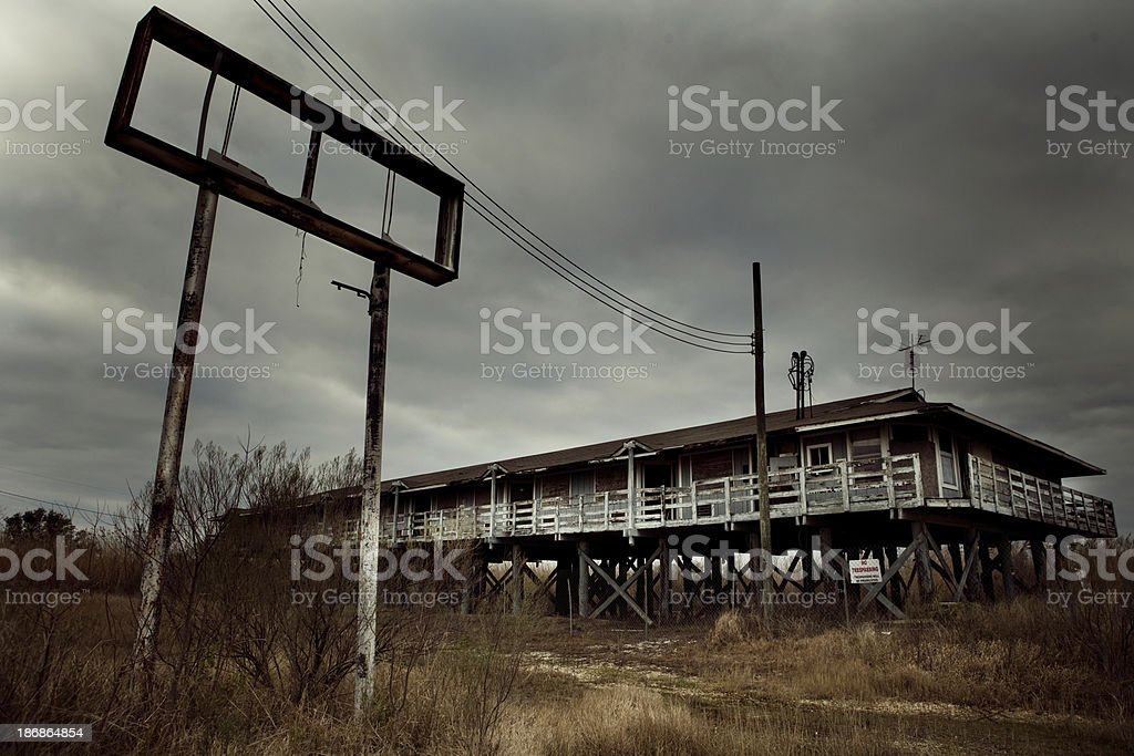 abandoned motel in Biloxi (after Hurricane Katrina) stock photo