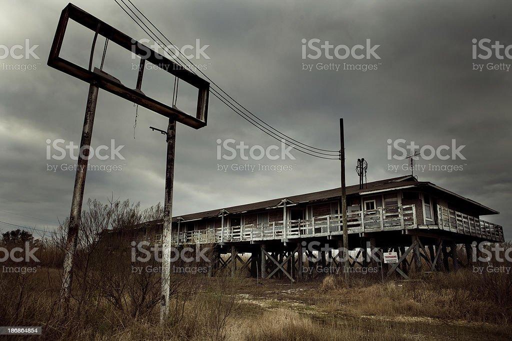 abandoned motel in Biloxi (after Hurricane Katrina) stock photo