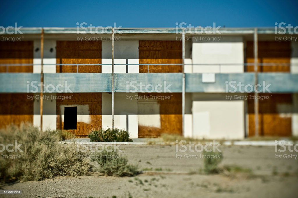 abandoned motel stock photo