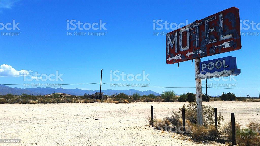 Abandoned Motel Sign stock photo