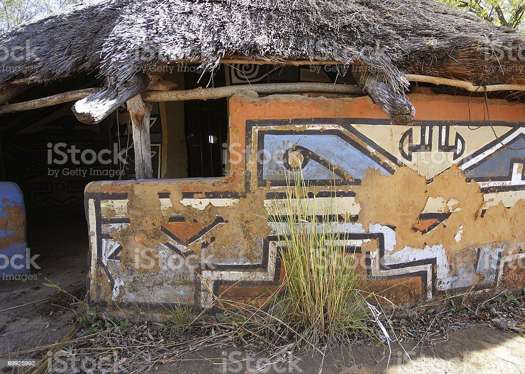 Abandoned Ndebele Hut stock photo
