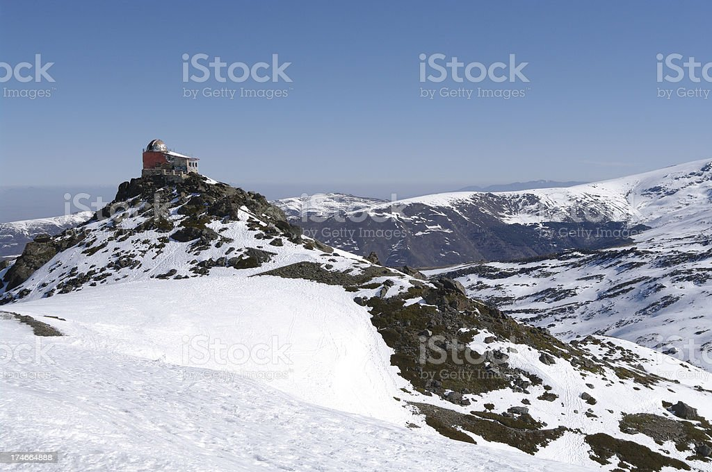 Abandoned observatory in Sierra Nevada, Spain royalty-free stock photo