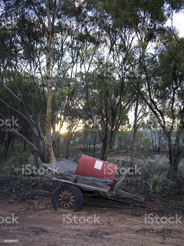 Abandoned oil can on cart royalty-free stock photo