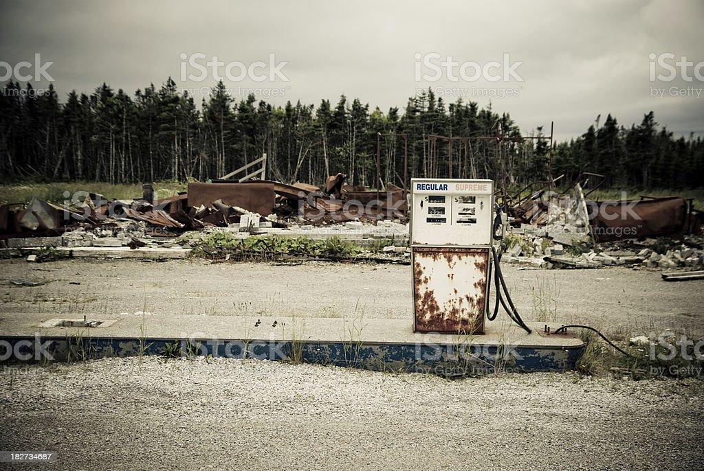 Abandoned oil station stock photo