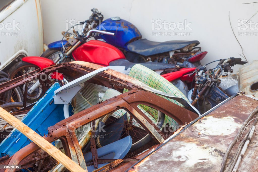 Abandoned, old and destryoed motorcicles stock photo