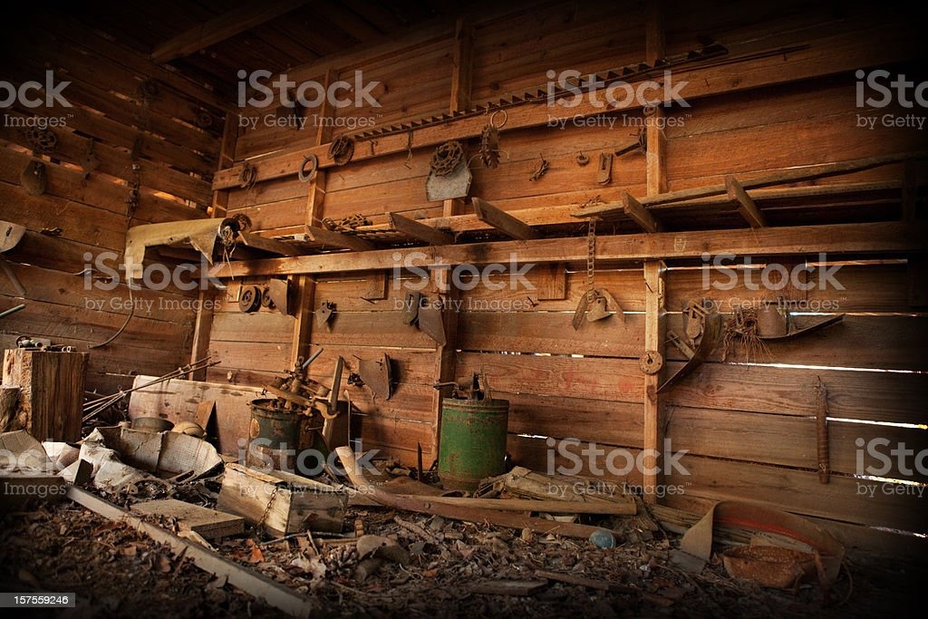 Abandoned Old Barn Room with Antiques and Trash stock photo