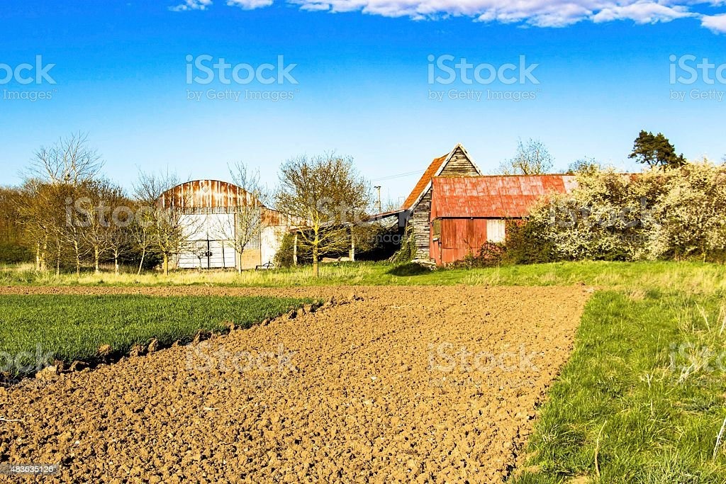 Abandoned old barns and sheds stock photo