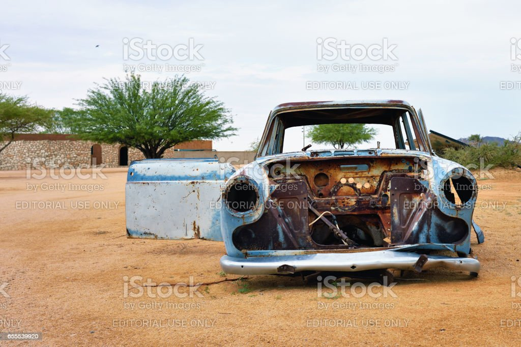 Abandoned old car stock photo