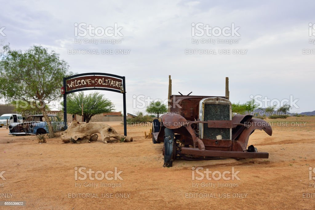 Abandoned old car, Solitaire, Namibia stock photo