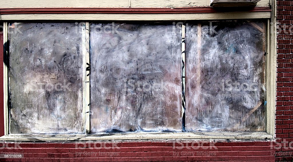 Abandoned Old Dilapidaded Brick Building Storefront, Neo-classica Facade, 3XL stock photo