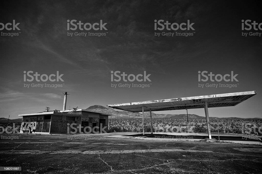 Abandoned, Old Gas Station in Middle of Desert royalty-free stock photo